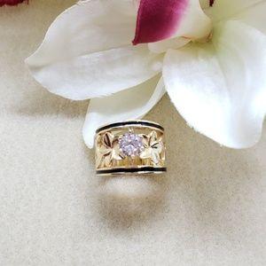 handmade Jewelry - 15mm Gold Plated Hawaiian Heirloom cut out CZ Ring
